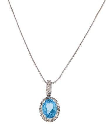 Product Name 14k Diamond Topaz Pendant Necklace