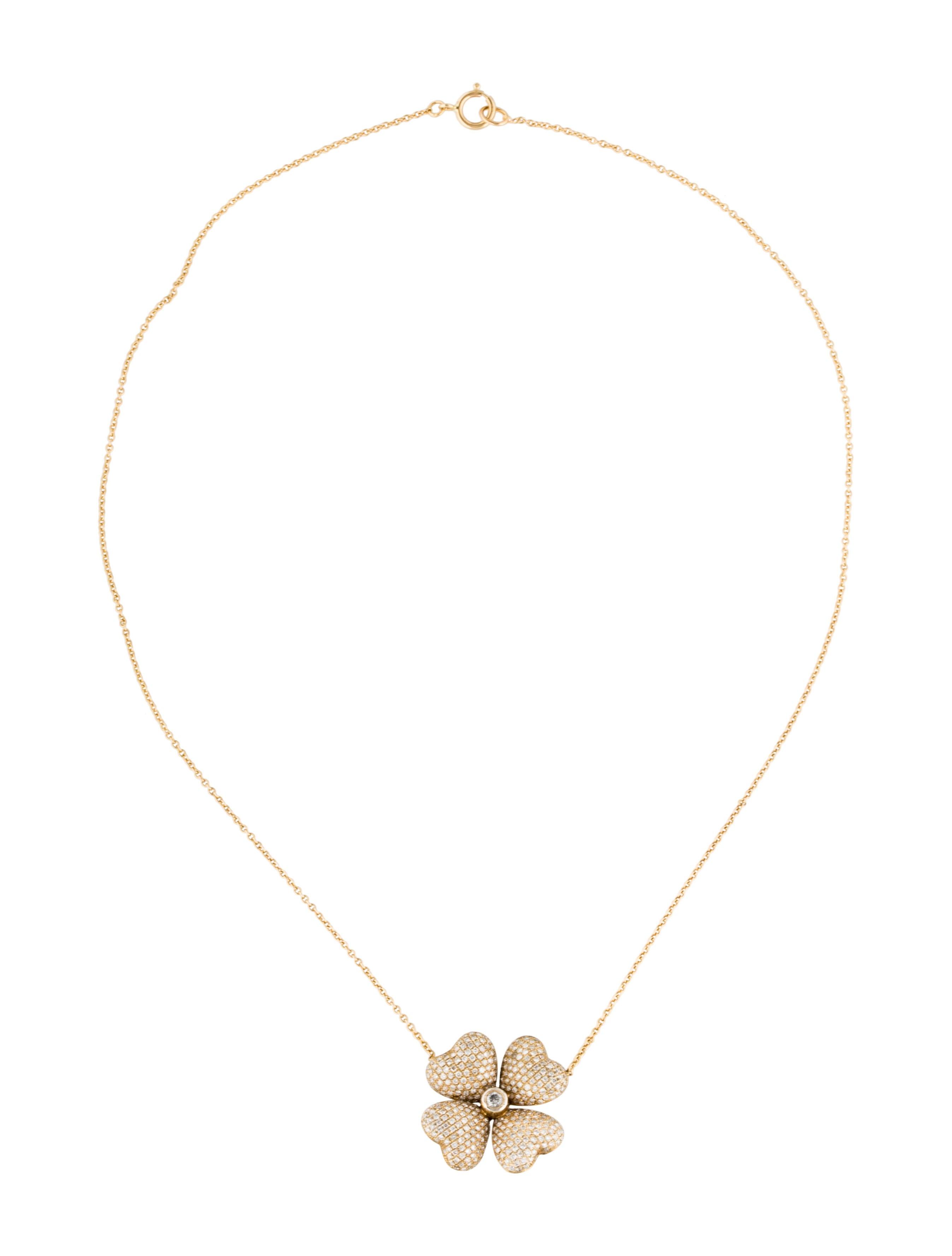 14k Diamond Clover Pendant Necklace Necklaces