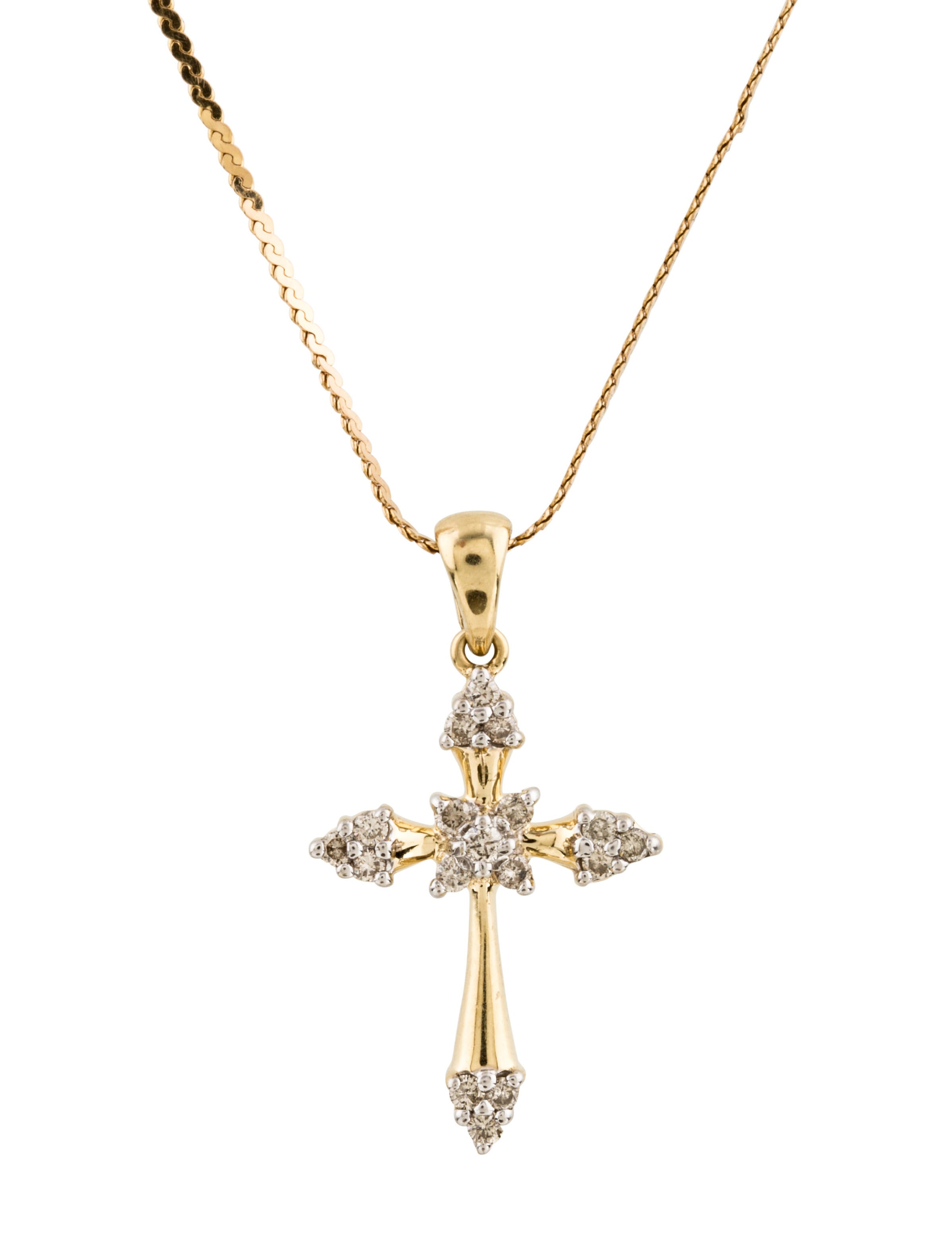 14k diamond cross pendant necklace necklaces. Black Bedroom Furniture Sets. Home Design Ideas