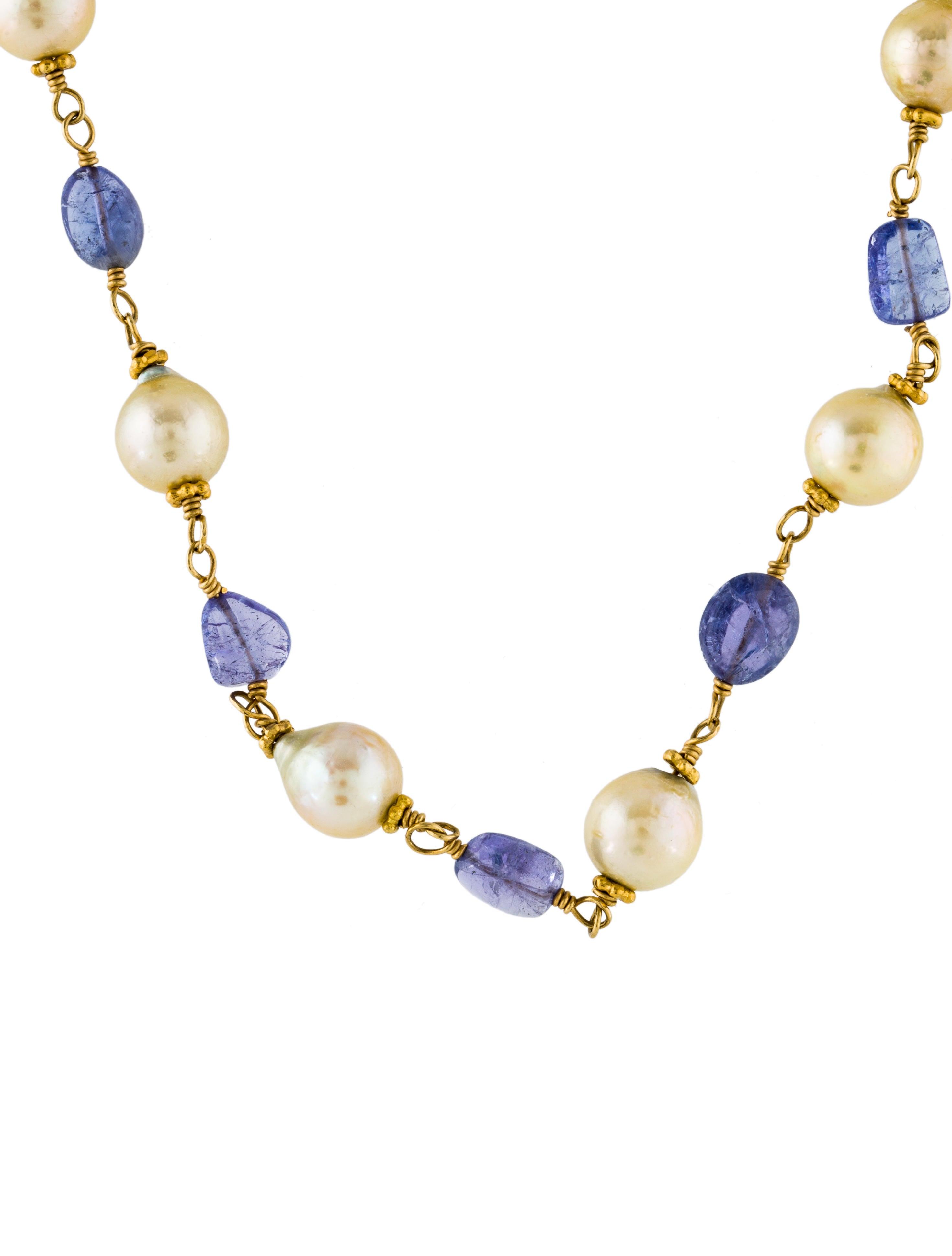 18k pearl tanzanite bead necklace necklaces