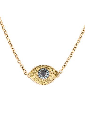 14k diamond sapphire evil eye pendant necklace. Black Bedroom Furniture Sets. Home Design Ideas