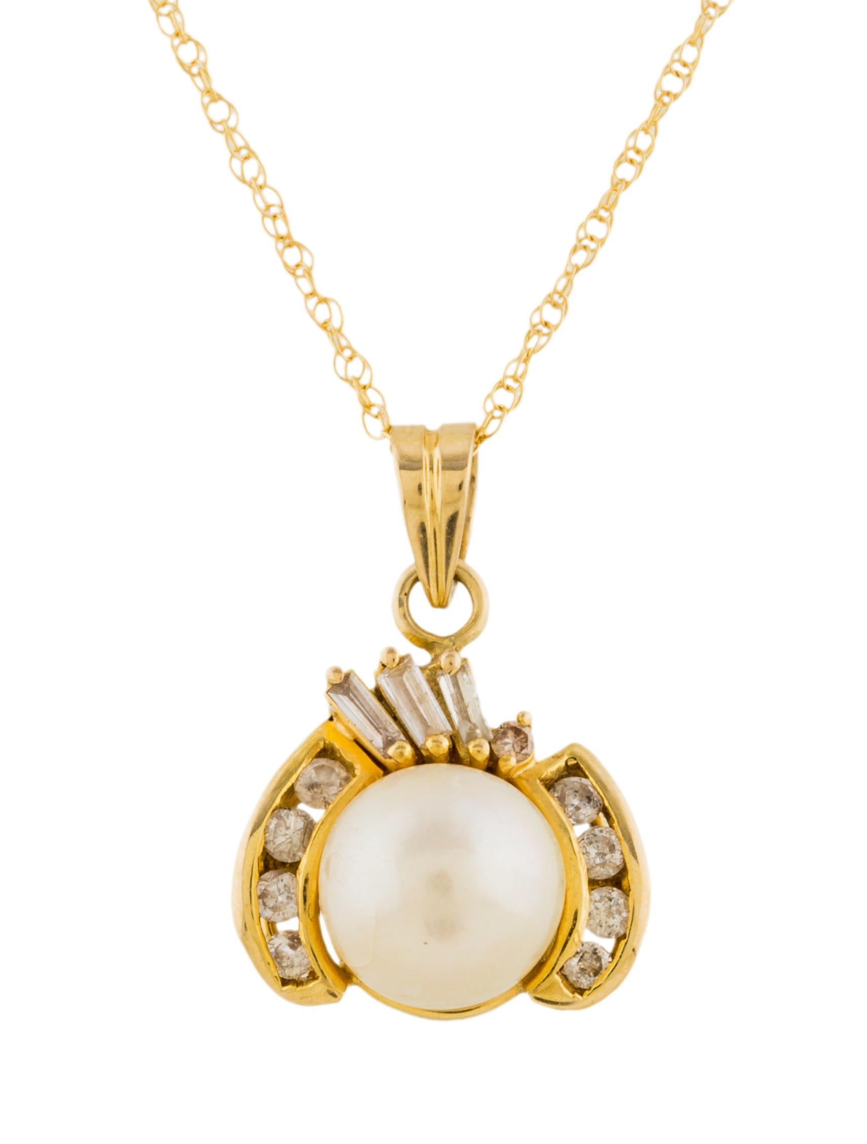 14K Pearl & Diamond Pendant Necklace - Necklaces ...