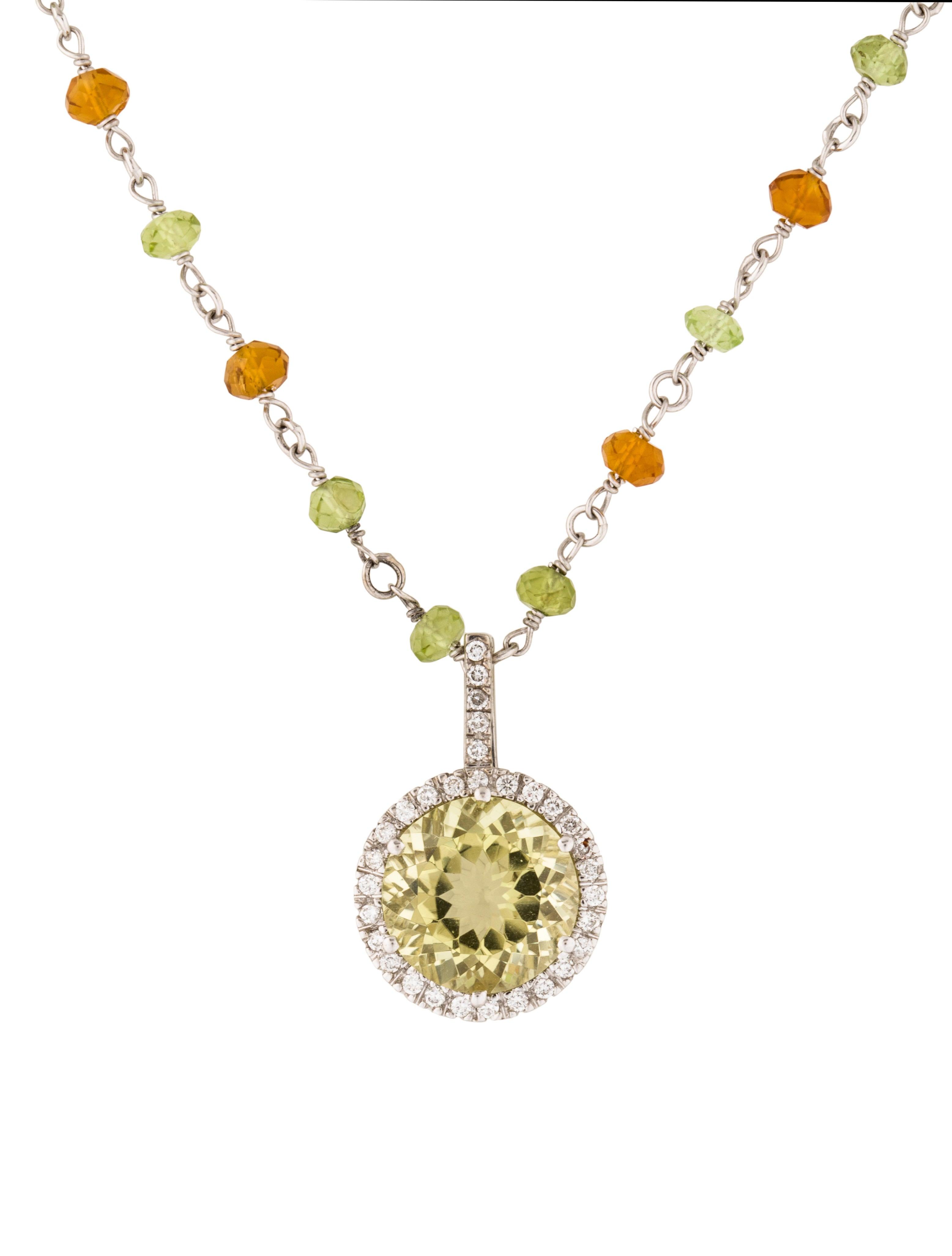 14k diamond citrine amp peridot pendant necklace
