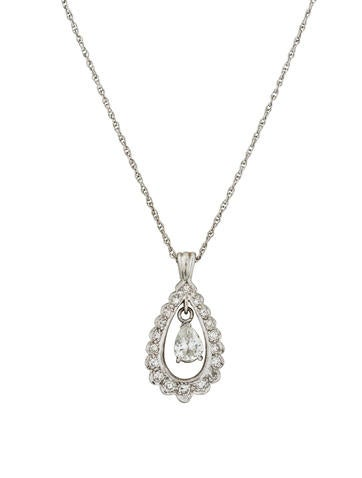 14K Diamond Floating Pendant Necklace None
