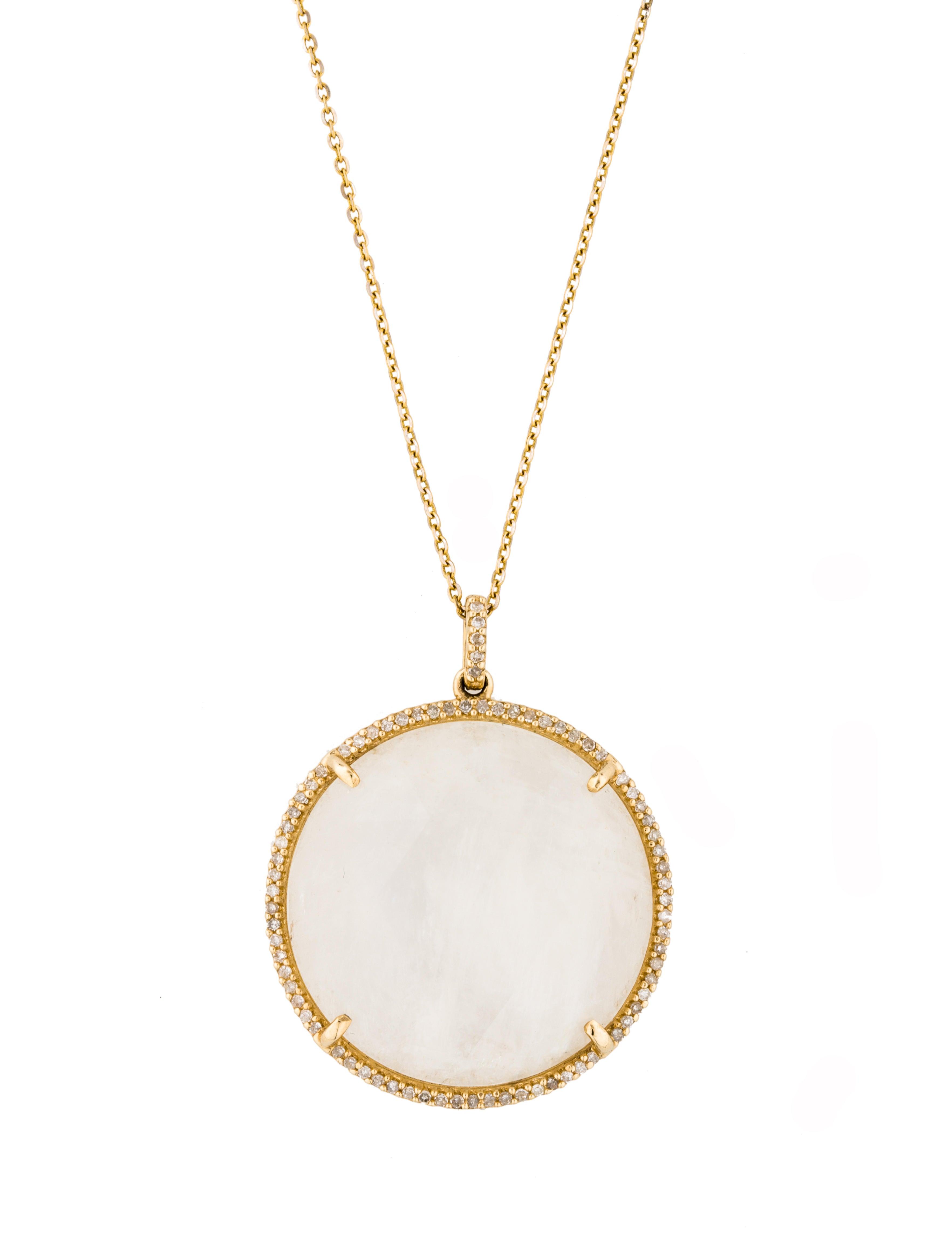 14K Diamond & Moonstone Pendant Necklace - Necklaces ...