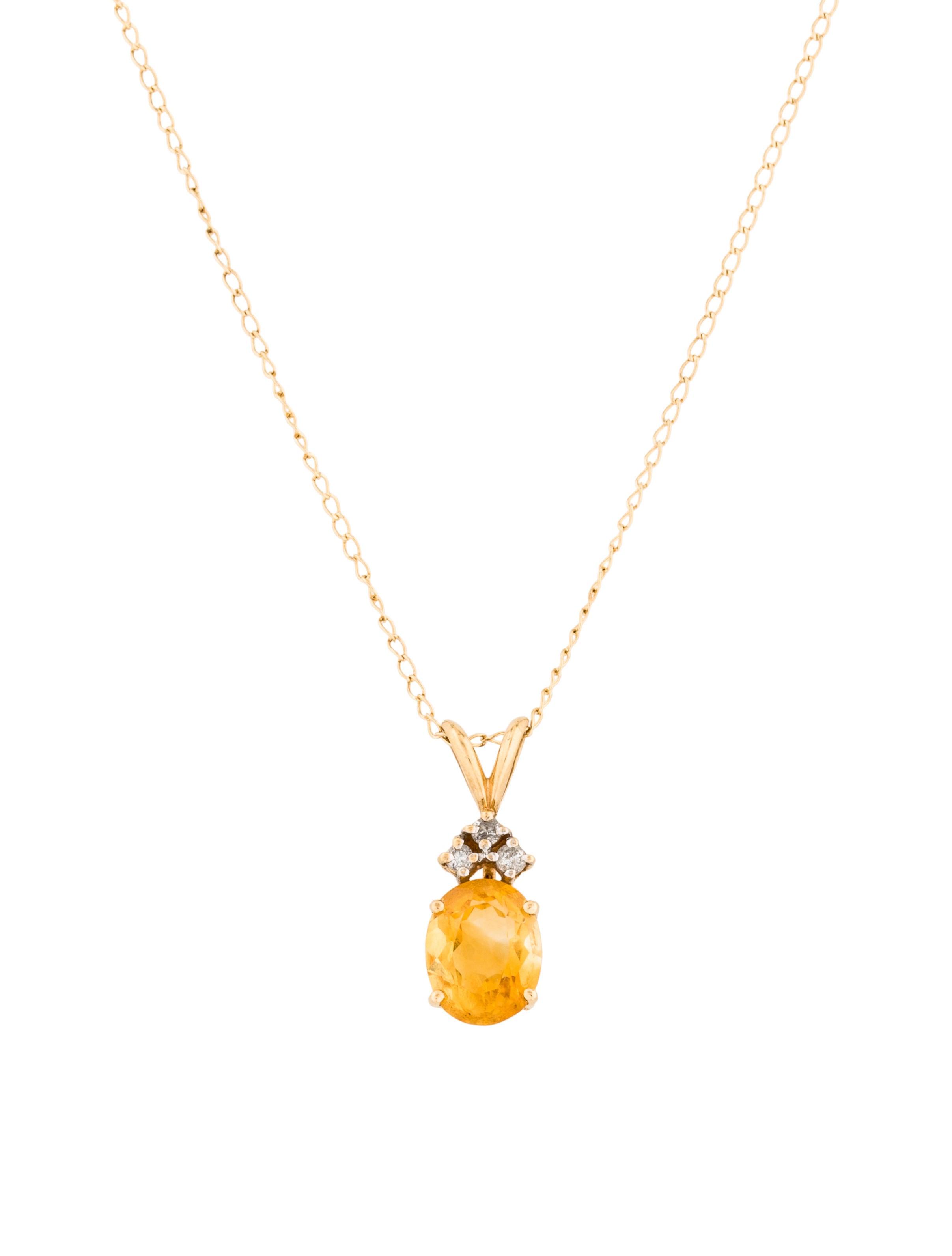 14k diamond amp citrine pendant necklace necklaces