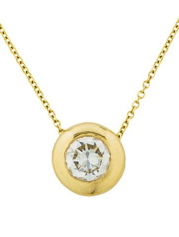 14k diamond bezel pendant