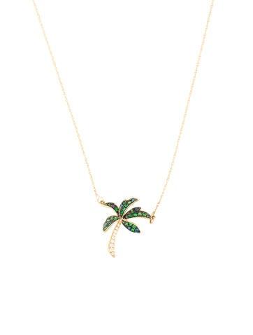 14k tsavorite diamond palm tree pendant necklace necklaces 14k tsavorite diamond palm tree pendant aloadofball Images