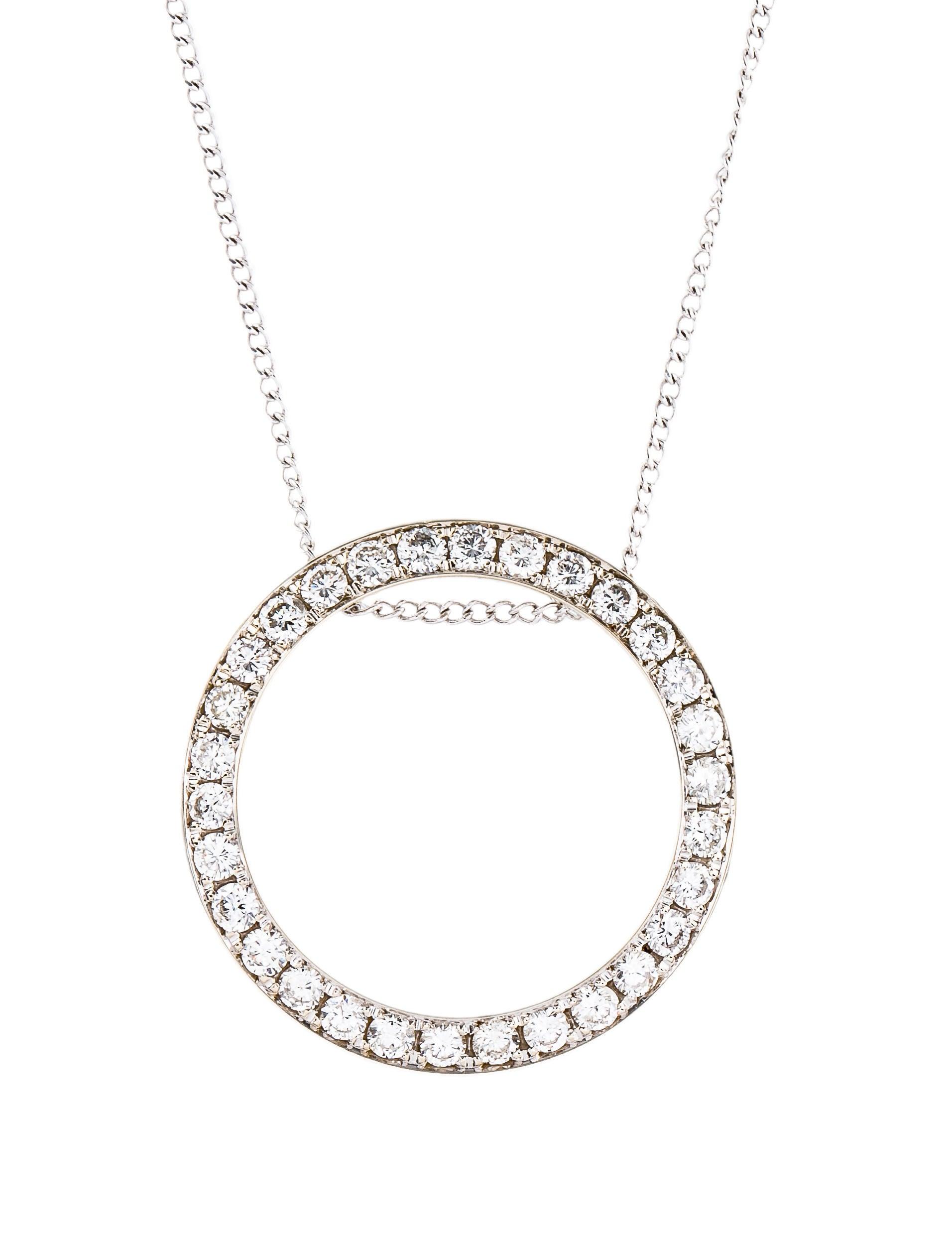 Diamond round pendant necklace necklaces neckl36864 the realreal diamond round pendant mozeypictures Gallery