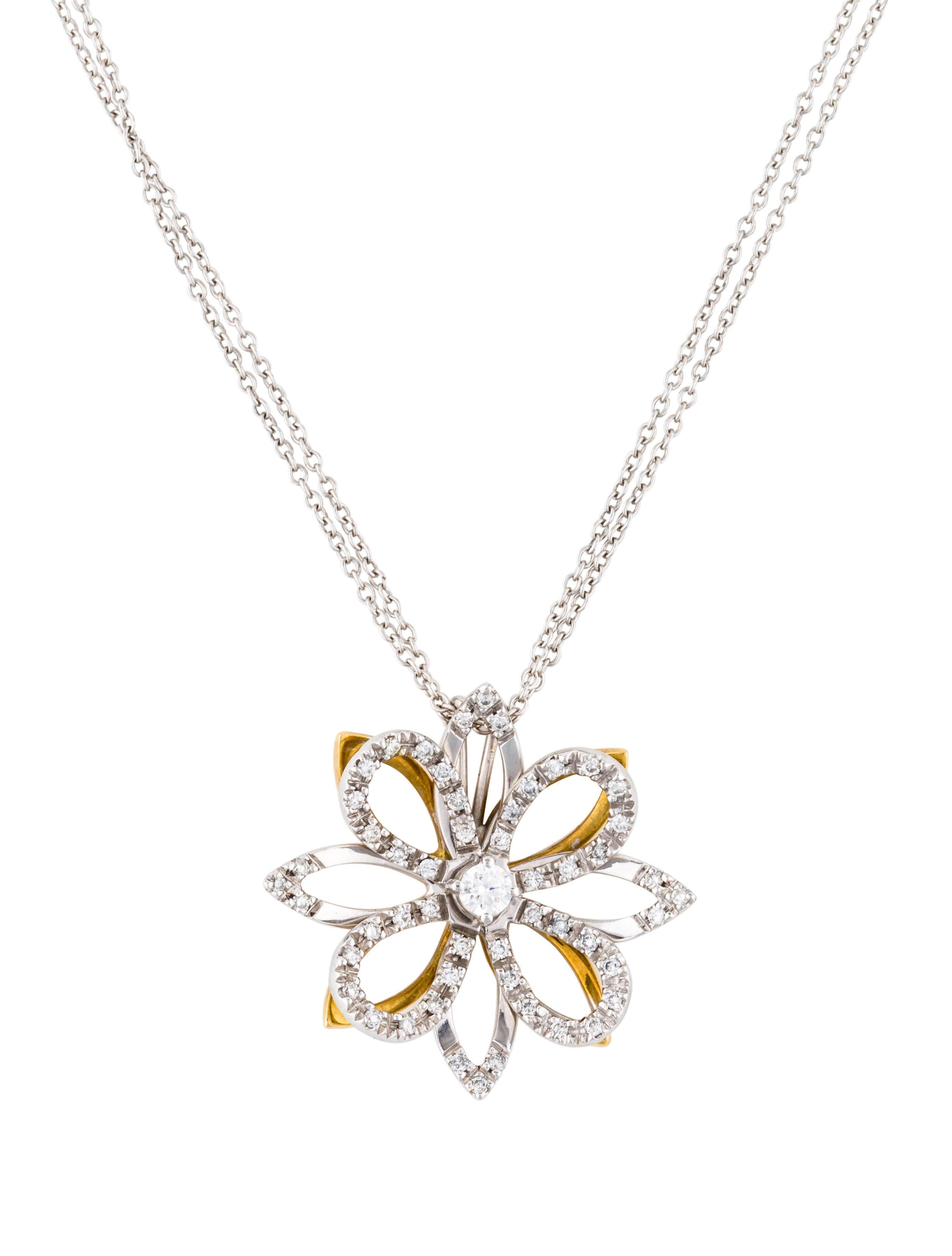 18k diamond flower pendant necklace necklaces neckl37115 the 18k diamond flower pendant aloadofball Gallery