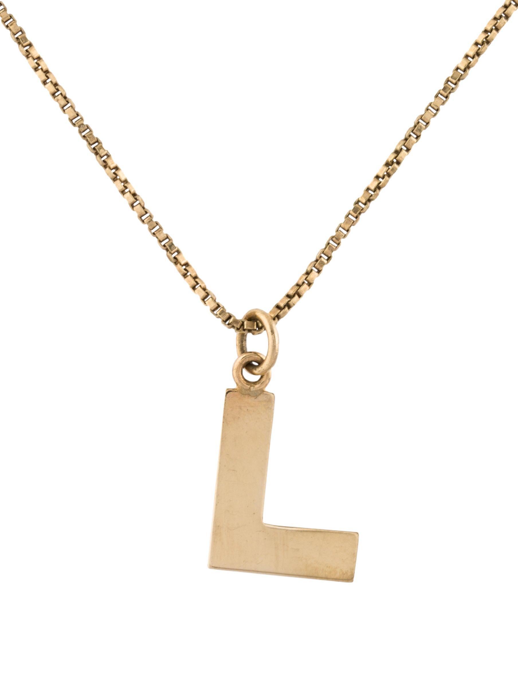 14k initial l pendant necklace necklaces neckl42715 the realreal 14k initial l pendant necklace aloadofball Choice Image