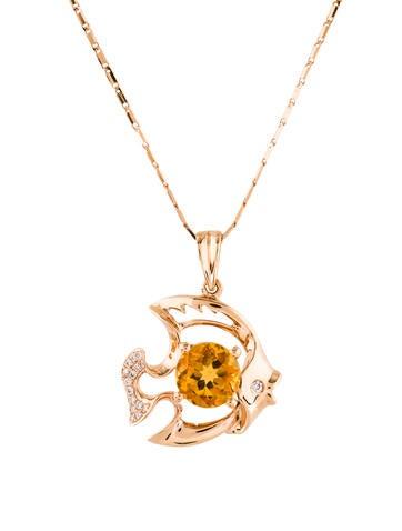 18k citrine diamond fish pendant necklace necklaces neckl43119 18k citrine diamond fish pendant necklace aloadofball Images