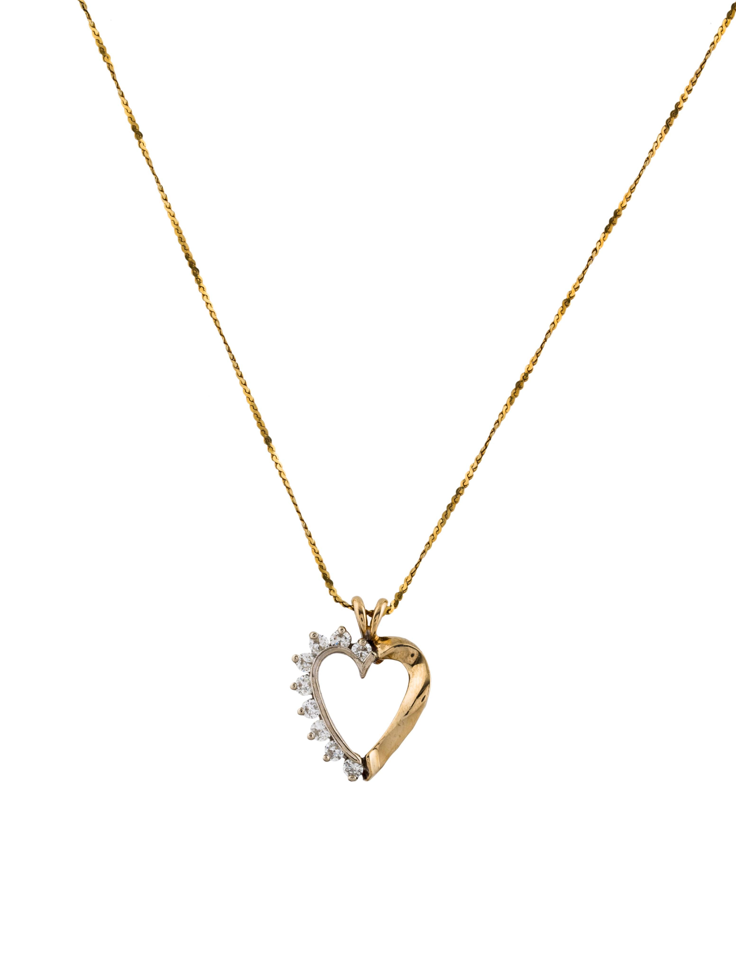 Diamond heart pendant necklace necklaces neckl43570 the realreal diamond heart pendant necklace aloadofball Choice Image