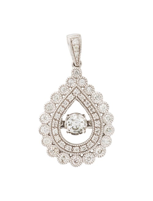 14K Diamond Halo Pendant white