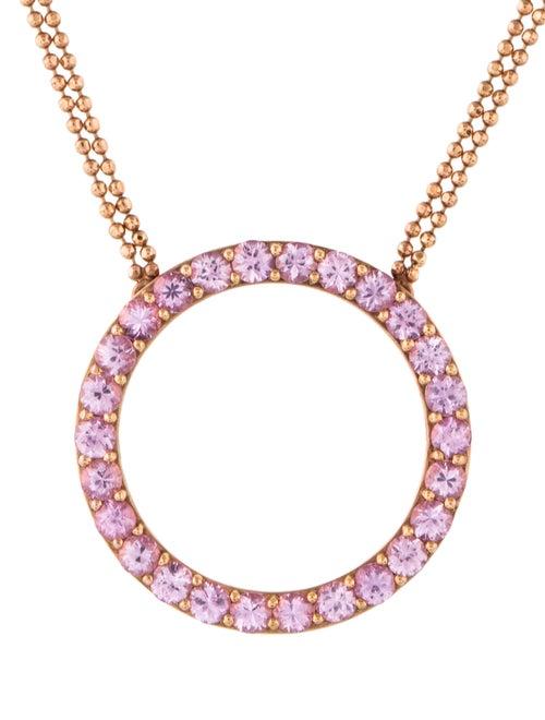 18K Pink Sapphire Circle Pendant yellow