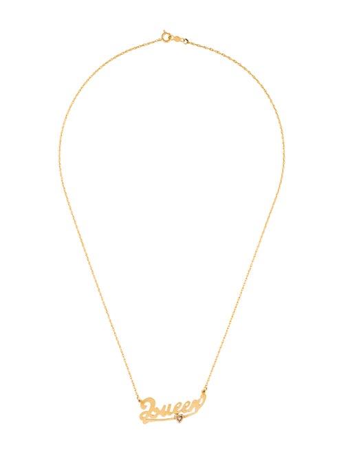 14K Diamond 'Queen' Nameplate Necklace