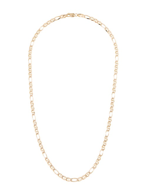 14K Figaro Link Chain Necklace yellow