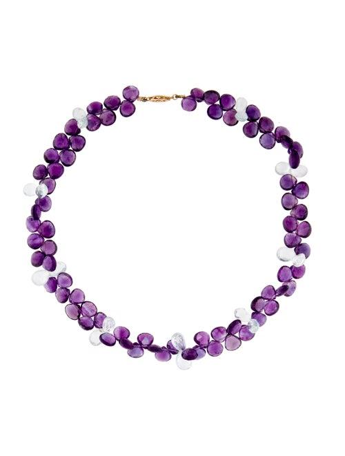 14K Amethyst & Aquamarine Beaded Necklace