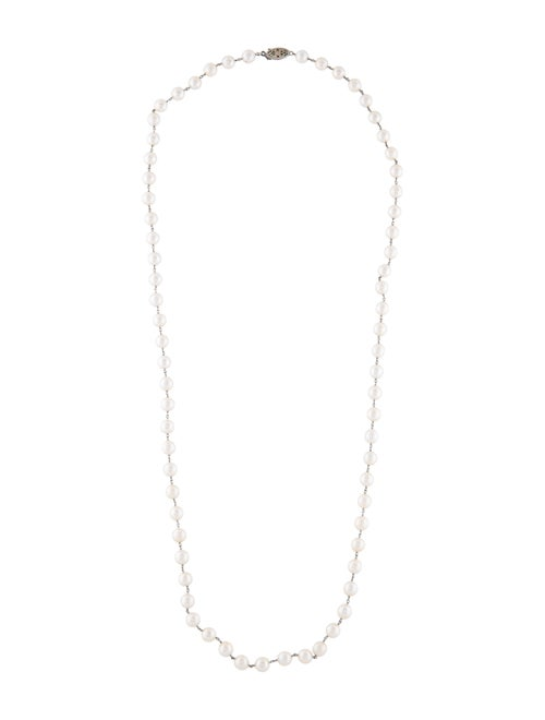 14K Pearl Station Necklace white