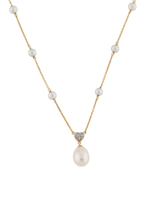 Necklace 14K Pearl & Diamond Pendant Necklace yell