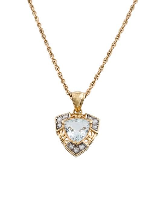 Aquamarine & Quartz Pendant Necklace yellow