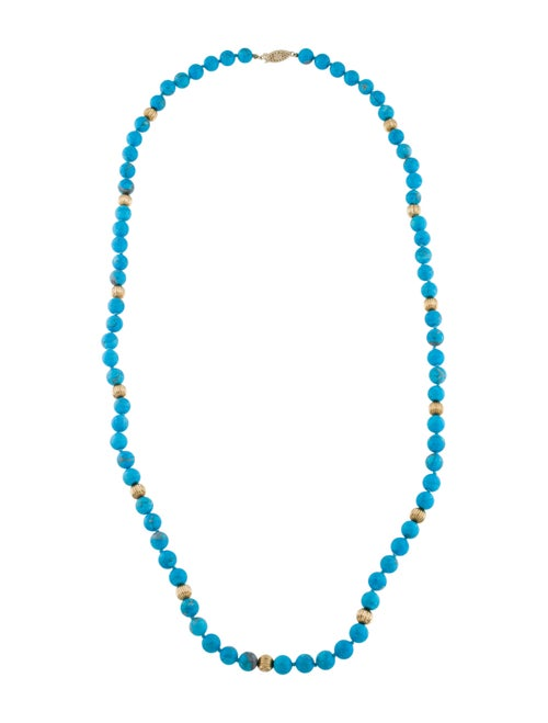Necklace 14K Turquoise Bead Station Necklace Turqu