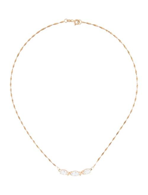 Necklace 14K Aquamarine Pendant Necklace yellow