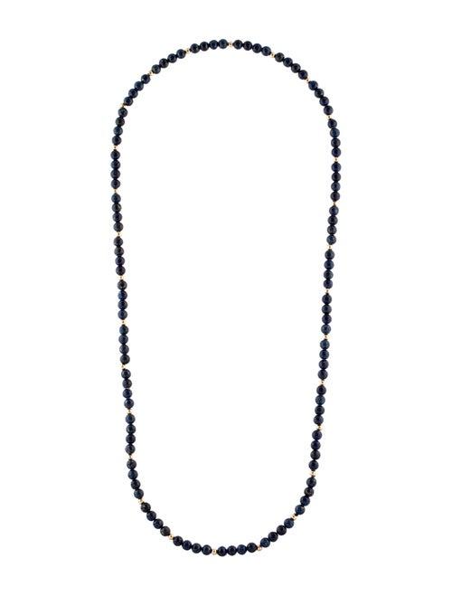 14K Lapis Lazuli Bead Strand Necklace yellow