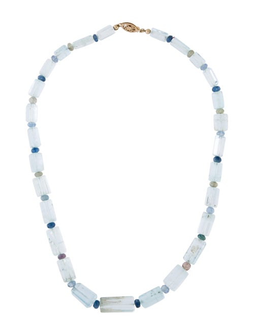 14K Aquamarine & Sapphire Beaded Necklace yellow