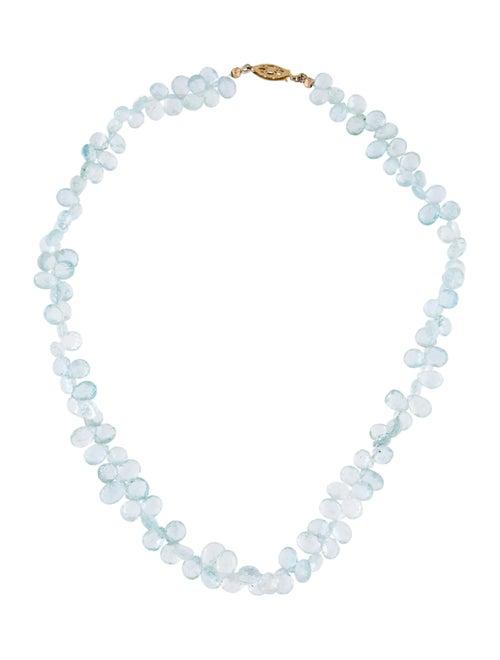 14K Aquamarine Beaded Necklace yellow