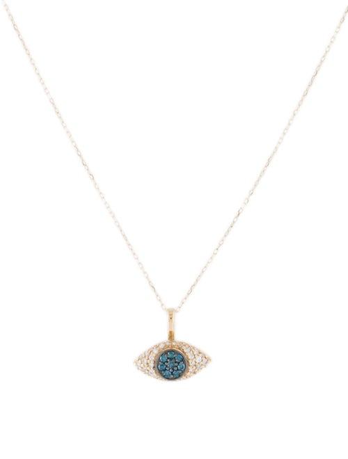 14K Diamond Evil Eye Pendant Necklace yellow