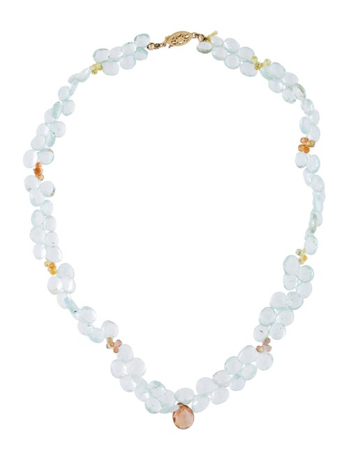14K Sapphire & Aquamarine Beaded Necklace yellow