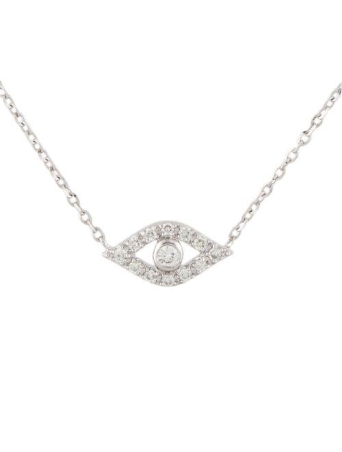 14K Diamond Evil Eye Pendant Necklace white