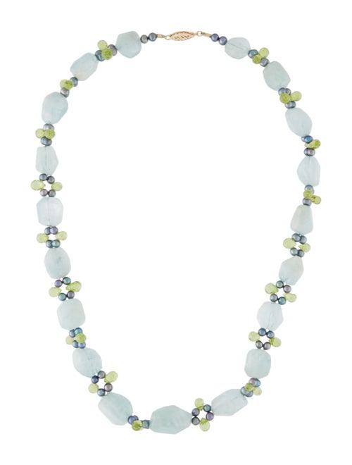 14K Aquamarine, Peridot & Pearl Bead Collar Neckla