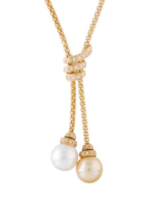 18K Pearl & Diamond Lavalier Necklace yellow