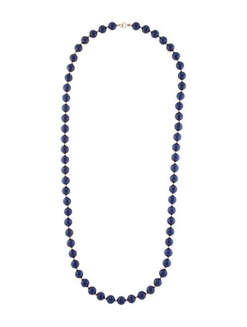 14K Lapis Lazuli Beaded Necklace yellow
