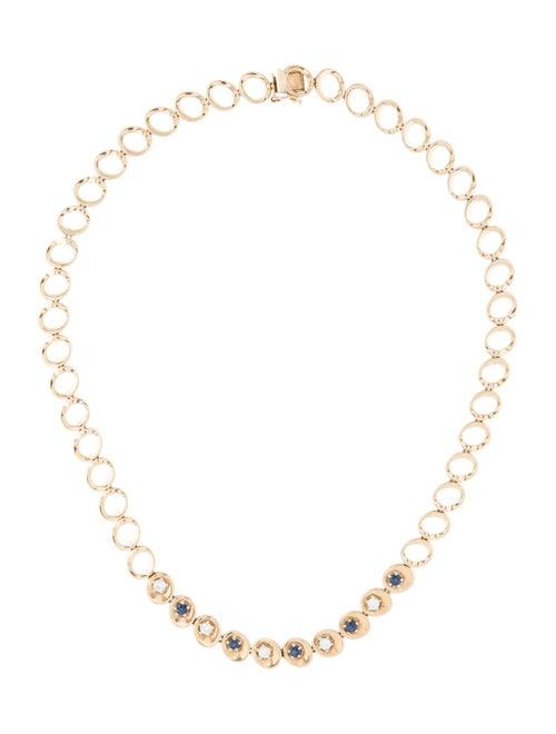 Necklace 14K Diamond & Sapphire Chain Necklace yel