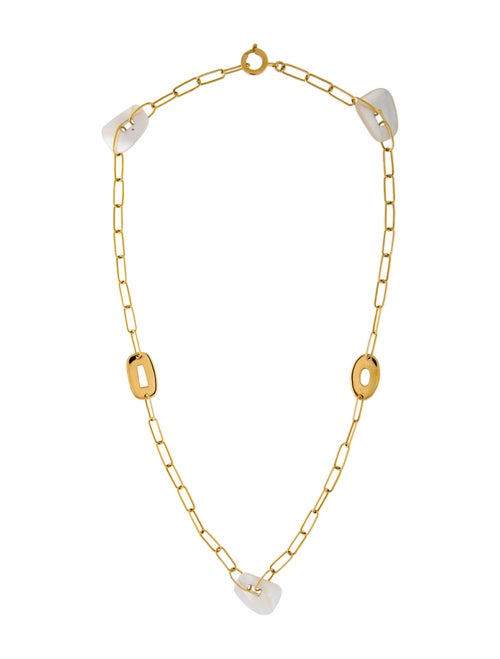18K Mother of Pearl Station Necklace yellow