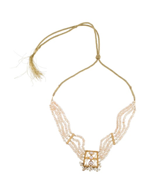 22K Pearl Collar Necklace yellow