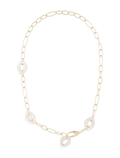18K Mother Of Pearl Collar Necklace yellow