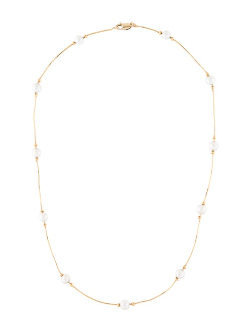 Necklace 14K Pearl Station Necklace Yellow