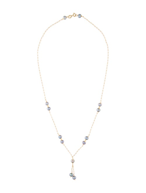 Necklace 18K Pearl Station Necklace Yellow