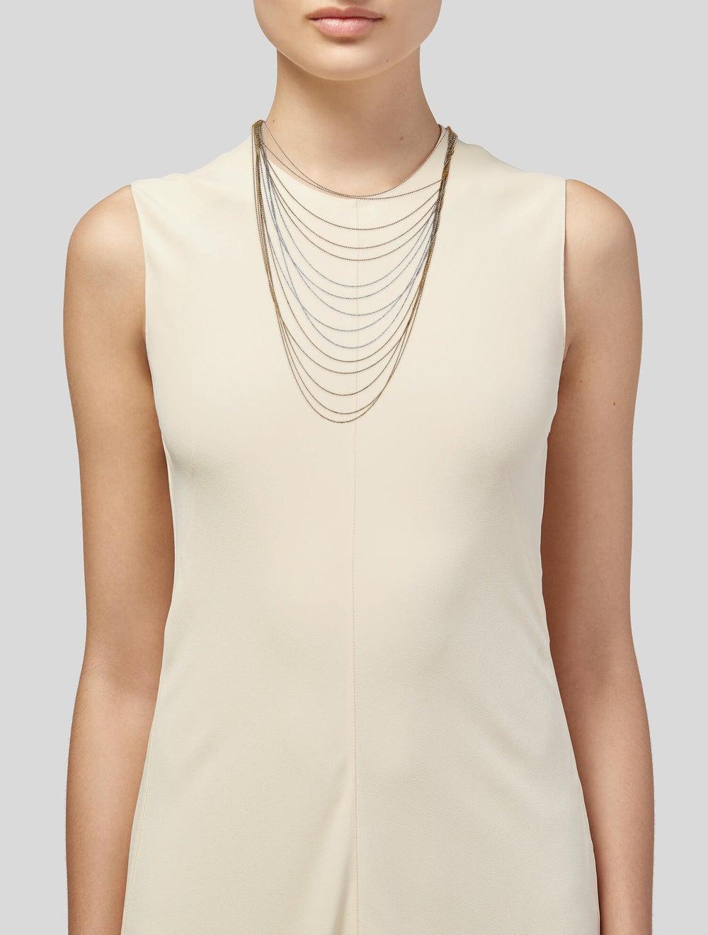 Necklace 18K Multi-Strand Chain Necklace White - image 2