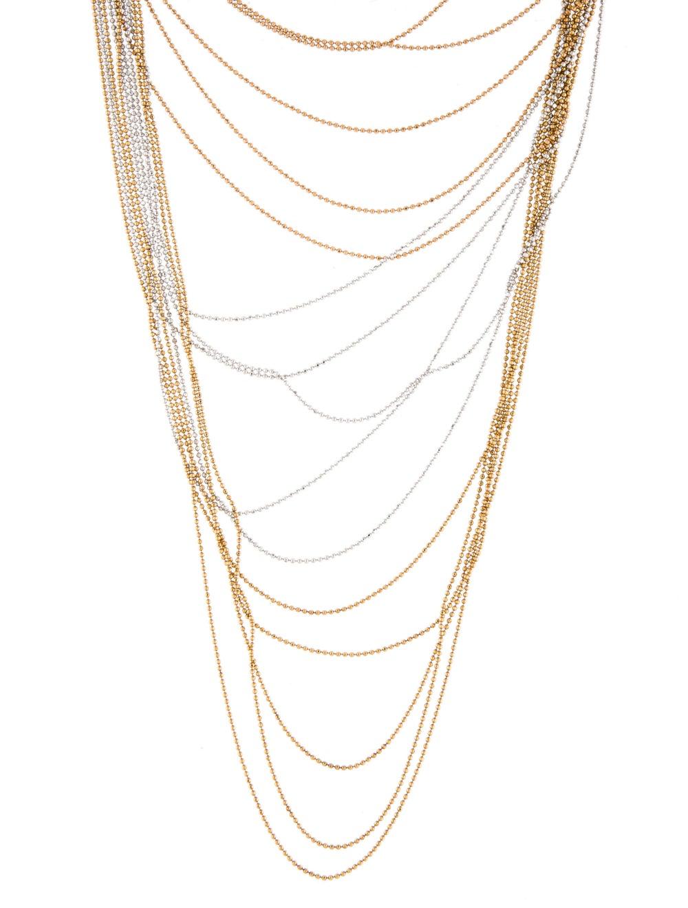 Necklace 18K Multi-Strand Chain Necklace White - image 3