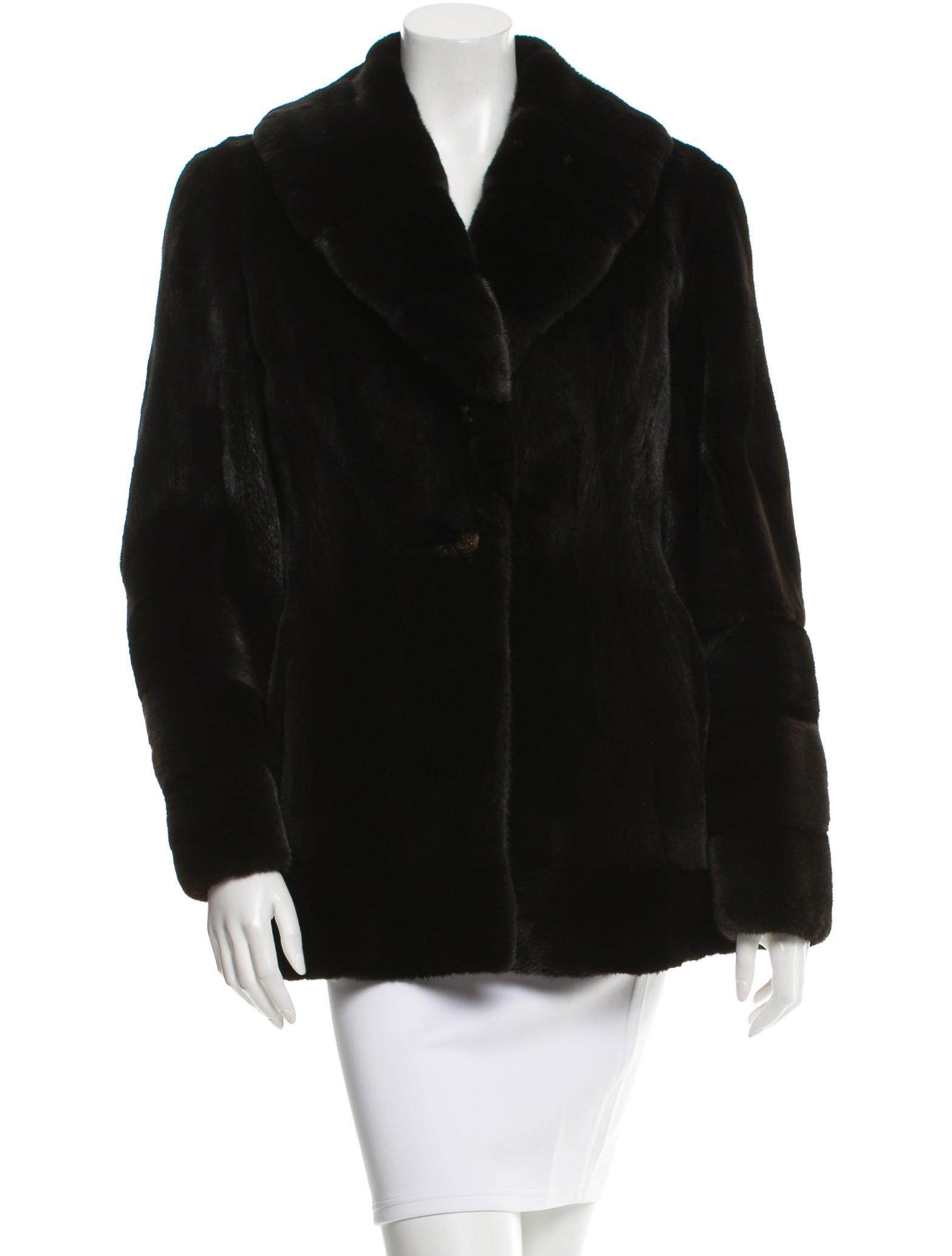 neiman marcus mink v neck jacket clothing nemrc20105. Black Bedroom Furniture Sets. Home Design Ideas
