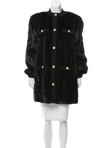 neiman marcus mink collarless coat clothing nemrc20236. Black Bedroom Furniture Sets. Home Design Ideas