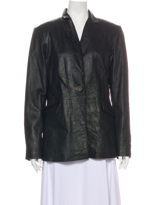 Neiman Marcus Leather Blazer Black