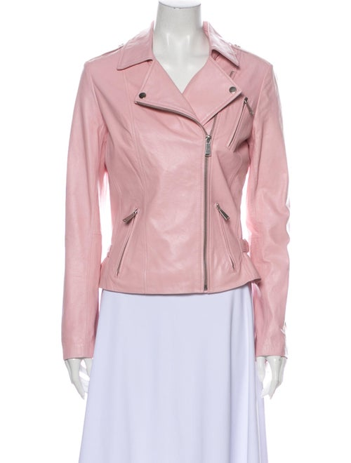 Neiman Marcus Leather Biker Jacket Pink