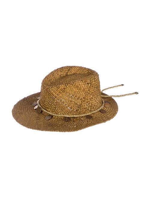 Neiman Marcus Straw Wide-Brim Hat Gold - image 1