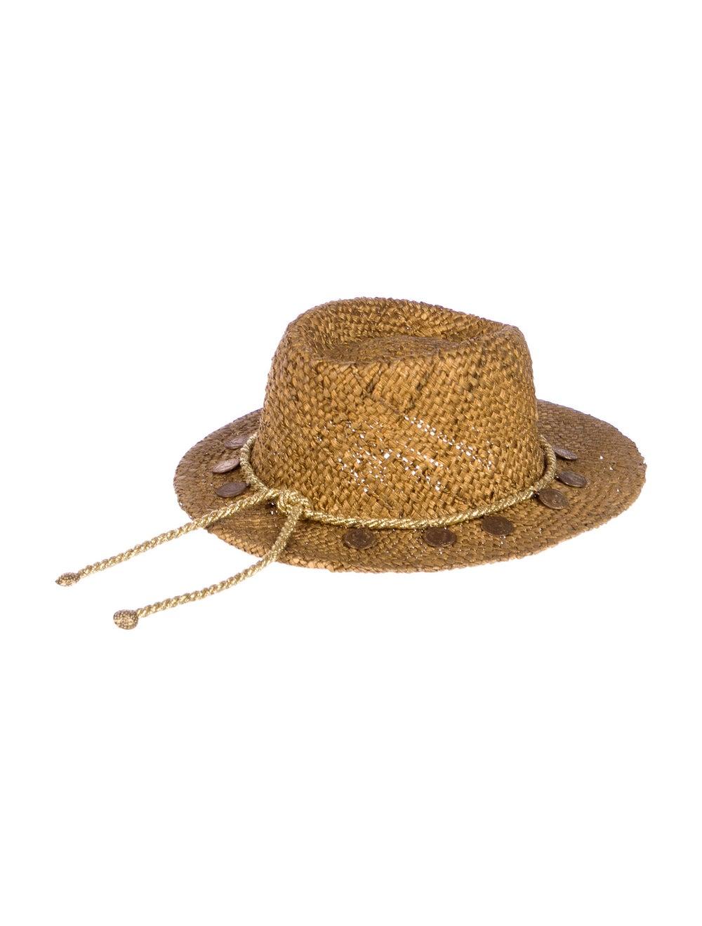 Neiman Marcus Straw Wide-Brim Hat Gold - image 2